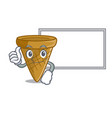 thumbs up with board wafer cone character cartoon vector image vector image