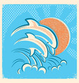 two dolphins and sun retro of parent vector image vector image