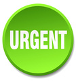 urgent green round flat isolated push button vector image vector image