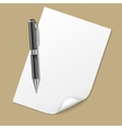 White Paper with Pen vector image vector image