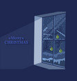 window with winter landscape and christmas balls vector image vector image