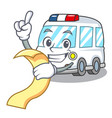 with menu ambulance mascot cartoon style vector image