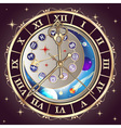 Zodiac signs astrological clock vector image vector image