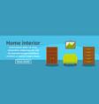 home interior banner horizontal concept vector image