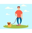 Man walking with a dog vector image