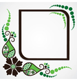 green flower leaf frame background vector image