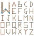 Latin alphabet made of wooden meccano vector image