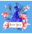 Vintage Peacock with Flowers Magnolia vector image