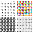 100 scenery icons set variant vector image