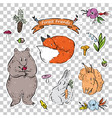 a set of stickers with animals from the forest vector image