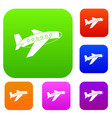 airplane set color collection vector image vector image
