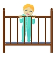 Baby stays in grib vector image vector image