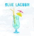 Blue Lagoon cocktail vector image