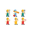 builder workers in uniform with various vector image vector image