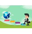 Business Man Walk Go World Success vector image vector image
