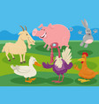 cartoon farm animal characters in countryside vector image vector image