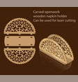 carved openwork wooden napkin holder can be used vector image vector image