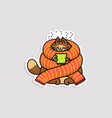 cat character in sweater and with cup drink vector image