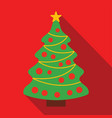 christmas tree on a red background vector image