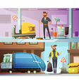 Cleaning Garbage Collecting Cartoon Banners Set vector image vector image