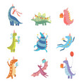 collection of cute colorful dinosaurs in party vector image vector image