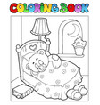 coloring book with teddy bear 1 vector image