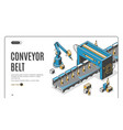 conveyor belt web banner robot hands pack bottles vector image vector image