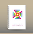 cover of diary or notebook rainbow pinwheel vector image vector image