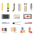 Drawing Tools Icons Flat Set vector image vector image