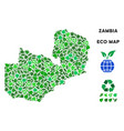 ecology green composition zambia map vector image vector image