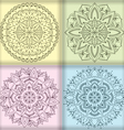 Four circular floral ornaments vector image