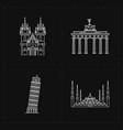 four flat landmark icons vector image vector image