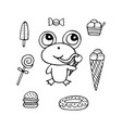 funny hand-drawn monochrome frog the sweet tooth vector image