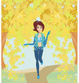girl running in the park autumn landscape vector image