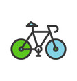 green bicycle filled outline flat icon save vector image vector image