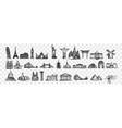 hand drawn landmarks doodle set vector image