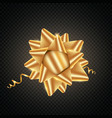 isolated realistic golden satin bow for gift vector image vector image