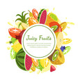 juicy fruits banner template fresh bright vector image