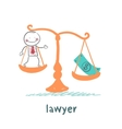 lawyer is in the balance with the money vector image vector image