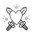 line swors mediaval weapons with heart and stars vector image vector image
