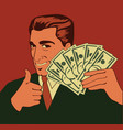 man holding hundred dollar bills vector image vector image