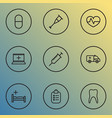medicine icons line style set with equipment vector image vector image