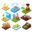 natural disaster isometric set vector image