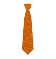 orange tie icon flat style vector image vector image