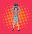 pop art happy business woman holding laptop vector image