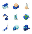 postal employee icons set isometric style vector image vector image
