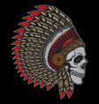 printdesign indian chief old skull vector image vector image