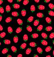 Raspberries Black Pattern vector image
