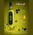 realistic olive oil advertising composition vector image vector image