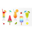 realistic summer sweets fresh juice cocktails vector image